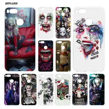 BiNFUL New Suicide Squad Joker Harley Quinn Clear Cover Case Coque for Xiaomi Redmi Mi A1 5X Note 2 3 4X 4 5 4A 5A Plus