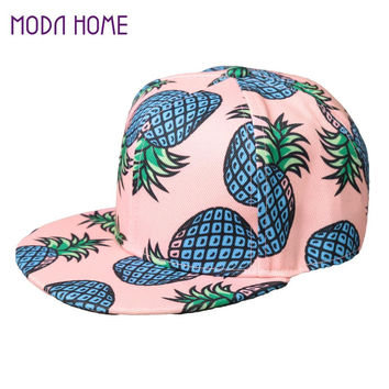 2017 New Fashion Pineapple Fruit Pattern Hat Ladies Snap Back Flat Cap Men Women Basketball Hip Hop Leisure Baseball Caps