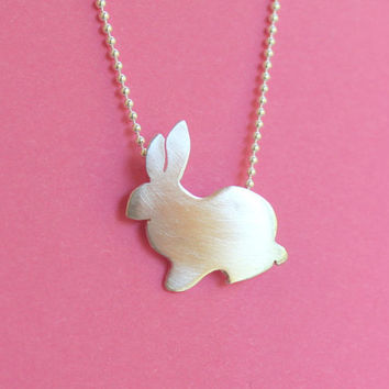 Cute Bunny Necklace in Sterling Silver Easter Gift