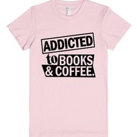 Addicted to Books & Coffee-Unisex Light Pink T-Shirt