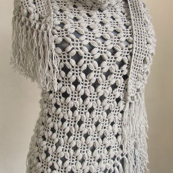 Christmas gift -Gray shawl- Silver Glitter GREY Shawl- Crochet shawl-