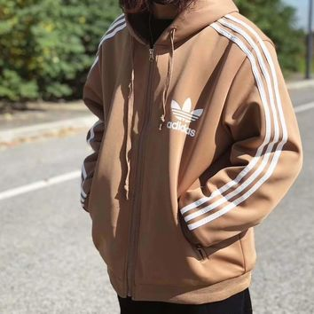Adidas Women Khaki Three Stripe With Cotton Winter Jacket Coat Hoody