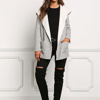 Grey Shearling Ribbed Knit Jacket