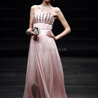A-line Straps Chiffon Floor-length Pink Beading Evening Dress at dressestore.co.uk