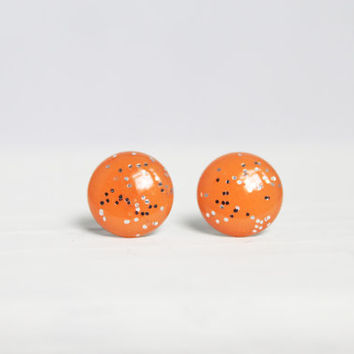 Bright Orange Glitter Earrings, Stud Earrings, Resin Jewelry, Hypoallergenic Posts