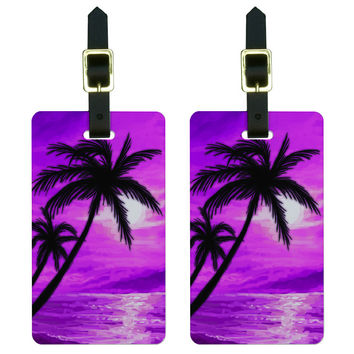 Palm Trees And Sunset Pink - Beach Tropical Ocean Luggage Tag Set