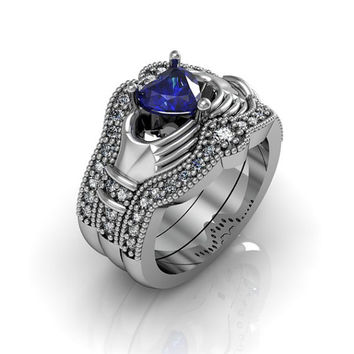 Claddagh Ring - Created Blue Spphire Sterling Silver Love and Friendship Engagement Ring Trio Set