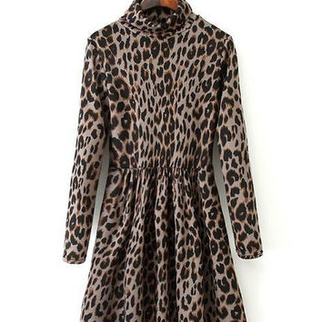 Leopard Long Sleeve Turtleneck Shirtwaist A-line Pleated Mini Dress