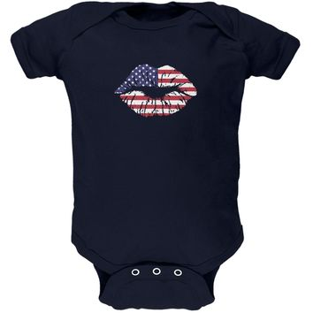 4th of July American Flag Kiss Lips Navy Soft Baby One Piece