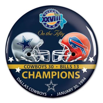 DALLAS COWBOYS BUFFALO BILLS SUPER BOWL XXVIII CHAMPS ON THE FIFTY BUTTON