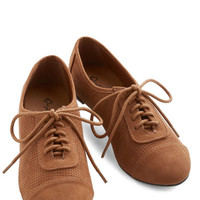 ModCloth Menswear Inspired Carefree Choreography Flat in Cognac