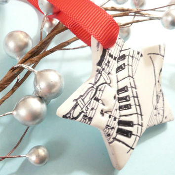 Christmas Ornament Music Star, Keyboard Piano Trumpet Trombone, Black and White with Red Ribbon - handmade polymer clay
