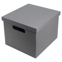 "Lidded Milk Crate Storage Box 11"" - Gray - Room Essentials™"