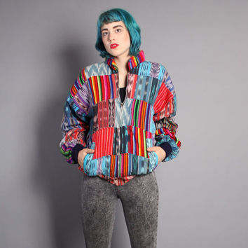 90s GUATEMALAN Bomber JACKET / Quilted PATCHWORK Oversized Coat