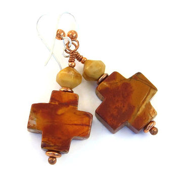 Cross Earrings, Red Creek Jasper Southwest Gemstone Christian Jewelry