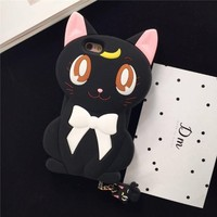 "iPhone 6S Case, MC Fashion Cute Japanese Cartoon Sailor Moon Crystal Luna Cat Protective Case for Apple iPhone 6S and iPhone 6 4.7"" (Luna-Black)"