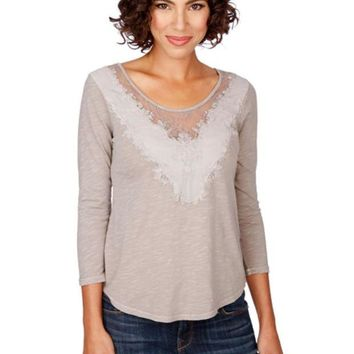 LMFYW3 Lucky Brand Porpoise Washed Applique Top
