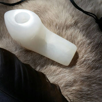 OOAK White Alabaster Personal Pipe - Snowbird Shape - Unique Hand Carved and Waxed Stone Pipe - White with Some Visible Veins