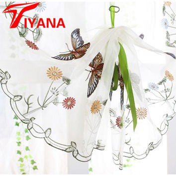 Butterfly curtain panel roman window valance home kitchen curtains string fabric for yarn rustic curtain yarn customize DS079#20