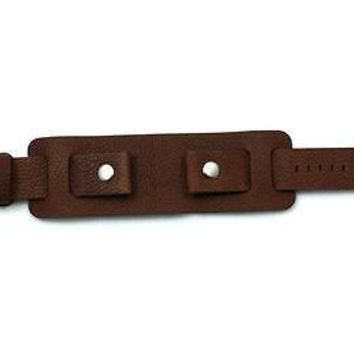20mm WIDE BROWN GENUINE LEATHER WATCH BAND CUFF ROCK PUNK GOTH BIKERS