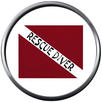 Rescue Diver On Red White Scuba Diver Down Dive Flag 18MM - 20MM Snap Jewelry Charm New Item