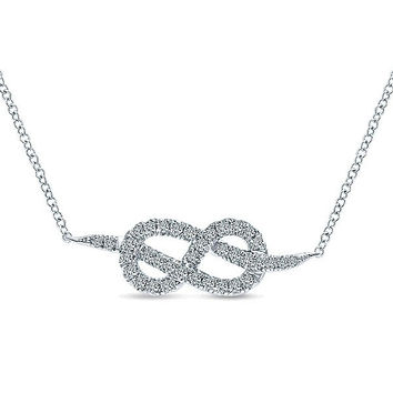 Pave Diamond Eternal Love Knot Necklace