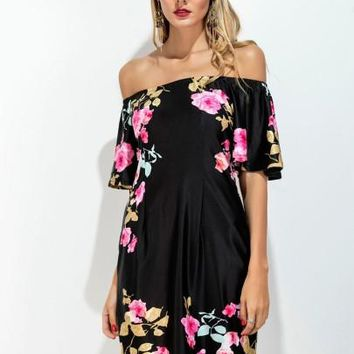 Floral Printed Slash Neck Women's Fashionable Day Dress