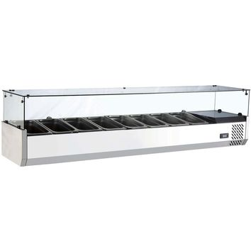 """Commercial Refrigerated Countertop Salad Bar Topping Rail with Sneezeguard 70"""""""