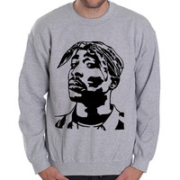 TUPAC-Face 2PAC Tribute Retro Grey Heavy Blend Crewneck Sweatshirt
