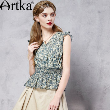 Artka Women's Summer New Baroque Style Printed Cotton Shirt Vintage V-Neck Sleeveless Cinched Waist Shirt With Ruffles SA10261X