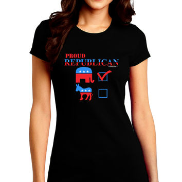 Proud Republican Checkmark Juniors Petite Crew Dark T-Shirt