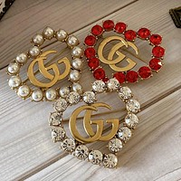 GUCCI New Personalized Double G Love Brooch