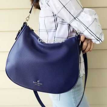 NWT KATE SPADE Cobble Hill Mylie Leather Shoulder Bag Navy Blue Hobo Tote