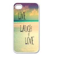 Iphone 4 Case, Thin Flexible Plastic Case Iphone 4 Case, Inspirational Qoute Beach Live Laugh Love (4s case) (iphone4scovers)