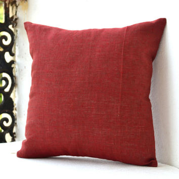 Throw pillows -4th july Cushion cover -Cushion cover -Decorative pillow burnt red -Linen Cushion zipper -26x26 -Euro sham -Anniversary -Gift