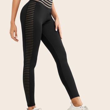 Mesh Panel Striped Wideband Waist Leggings