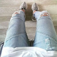 Mens ripped biker jeans light blue