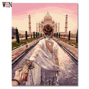 WEEN Wedding Oil Painting Pictures By Numbers On Canvas DIY Romantic Handpainted Coloring By numbers Digital Canvas Home Decor