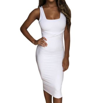 Women Summer Bodycon Dress Scoop Collar Sleeveless O-neck Sexy Midi Dresses Sheath Clubwear Femme Party Slim Dress GV575