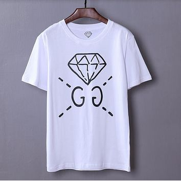 GUCCI spring and summer new catwalk custom models men's diamond GC short sleeve t-shirt youth shirt  White