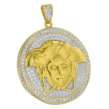 Medusa Face Gorgon Pendant Coin Round Charm Simulated Diamonds