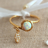 Opal Ring, White opal Gold filled ring with Hamsa talisman, dainty gold ring, Opal jewelry, Minimalist Ring,  Gift for woman, opal ring,