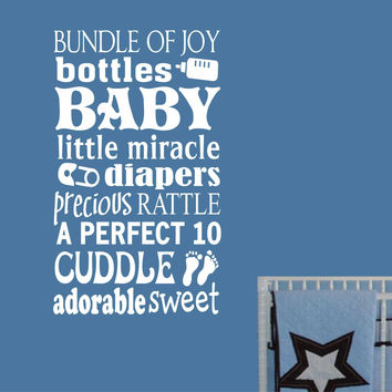 Nursery Baby Word Collage | Vinyl Decal | Vinyl Wall Lettering