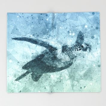 Geometric Flying Green Sea Turtle Throw Blanket by Nirvana.K