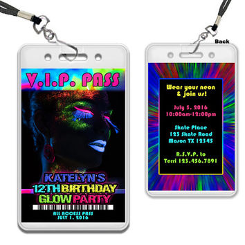 Glow Party Invitations - Glow Party VIP Pass - Girl Glow In The Dark Party Invite - Neon Glow - White Glow - Girls Glow Invitation - Lanyard