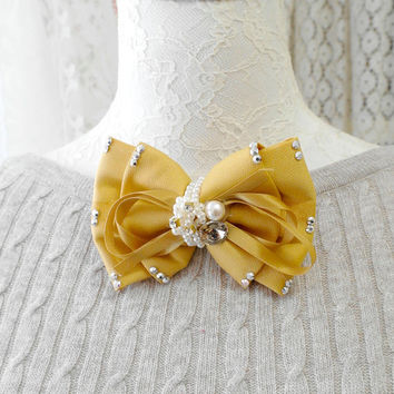 Darling Mustard yellow clip on bowtie bow hair piece rhinestone deco. pearl barrette fascinator