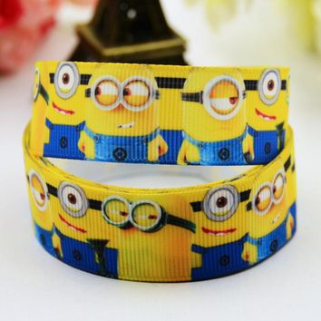 "7/8"" 22mm Minions Cartoon Printed grosgrain ribbon party decoration satin ribbons Hairbow sewing supplies OEM 10 Yards X-00606"