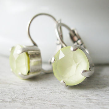 Yellow Bridesmaid Earrings Pale Yellow Summer Wedding Jewellery Antique Silver Powder Yellow Prom Earrings Yellow Bridal Lever backs