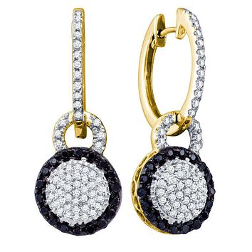 10kt Yellow Gold Womens Round Black Colored Diamond Framed Cluster Dangle Earrings 1/2 Cttw