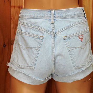 "Guess denim shorts / size 9 / 10 / 30"" waist / light wash high waisted shorts / retro  jean shorts"